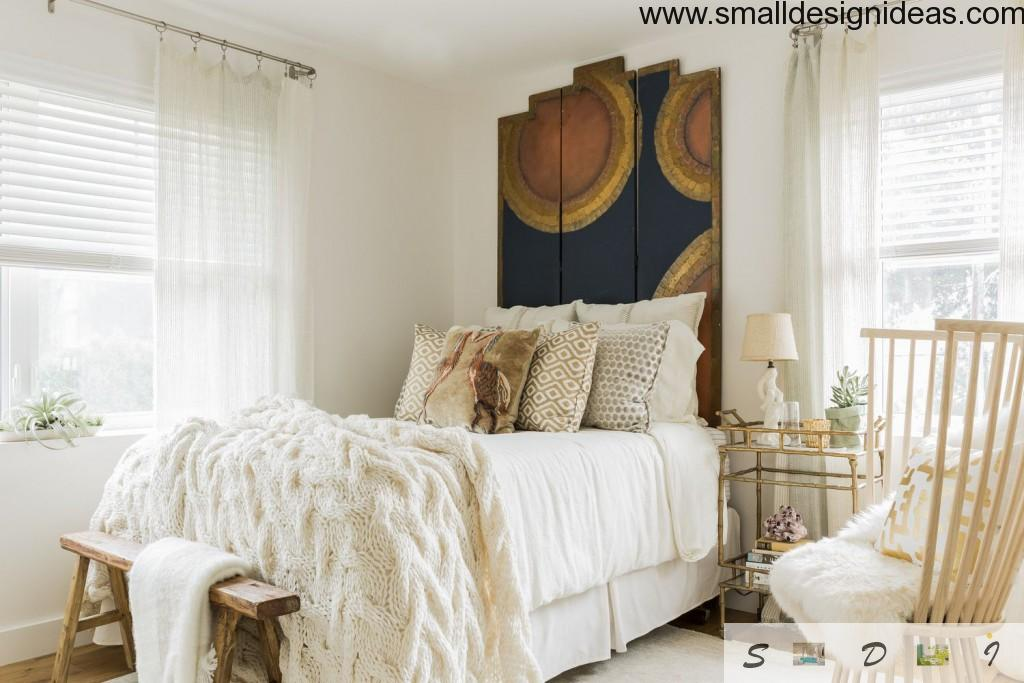 Hidden country-style lements in warm white bedroom design