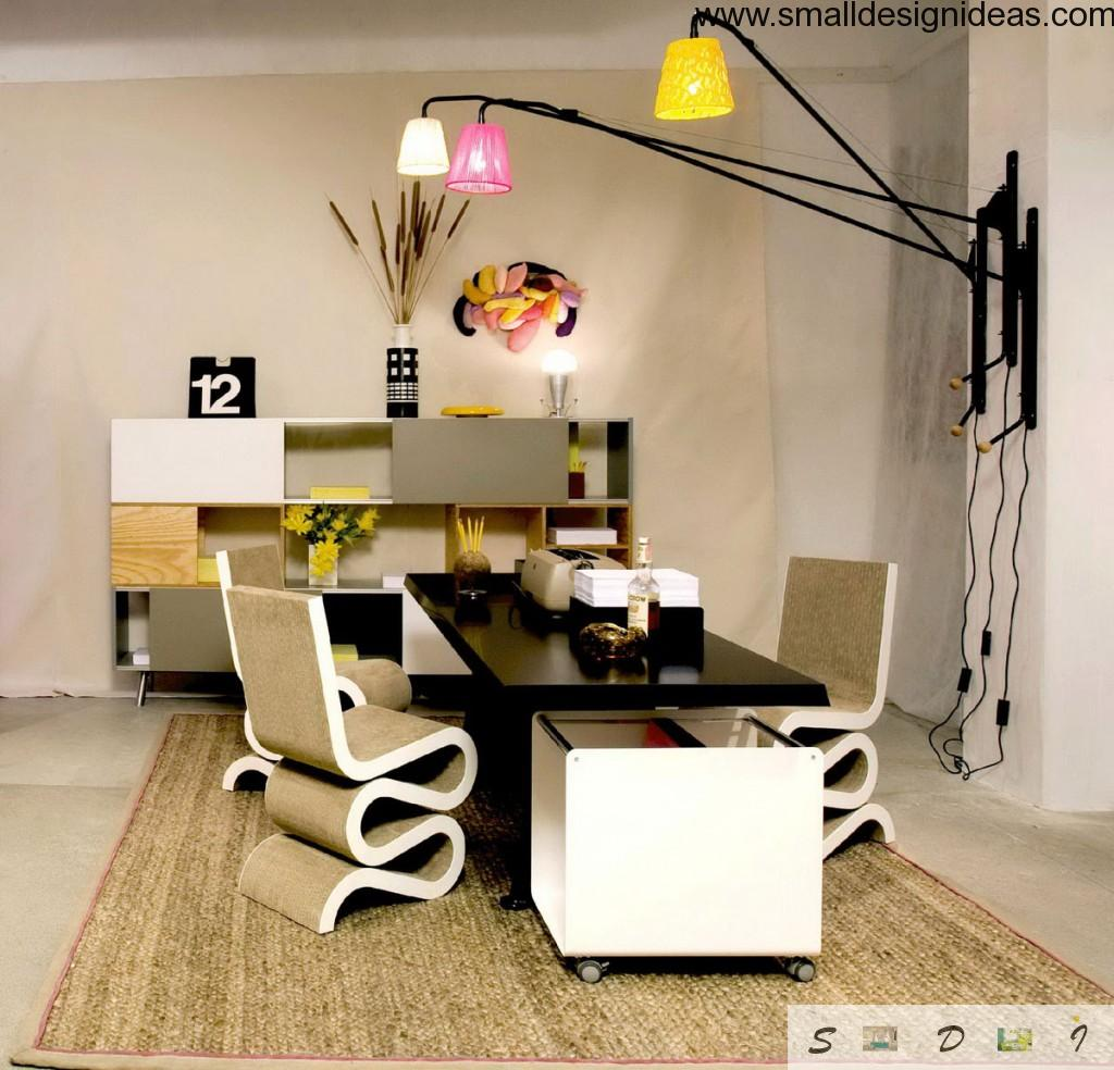 Ultramodern home cabinet with unusual shaped furniture and lots of accessories and interior decorations