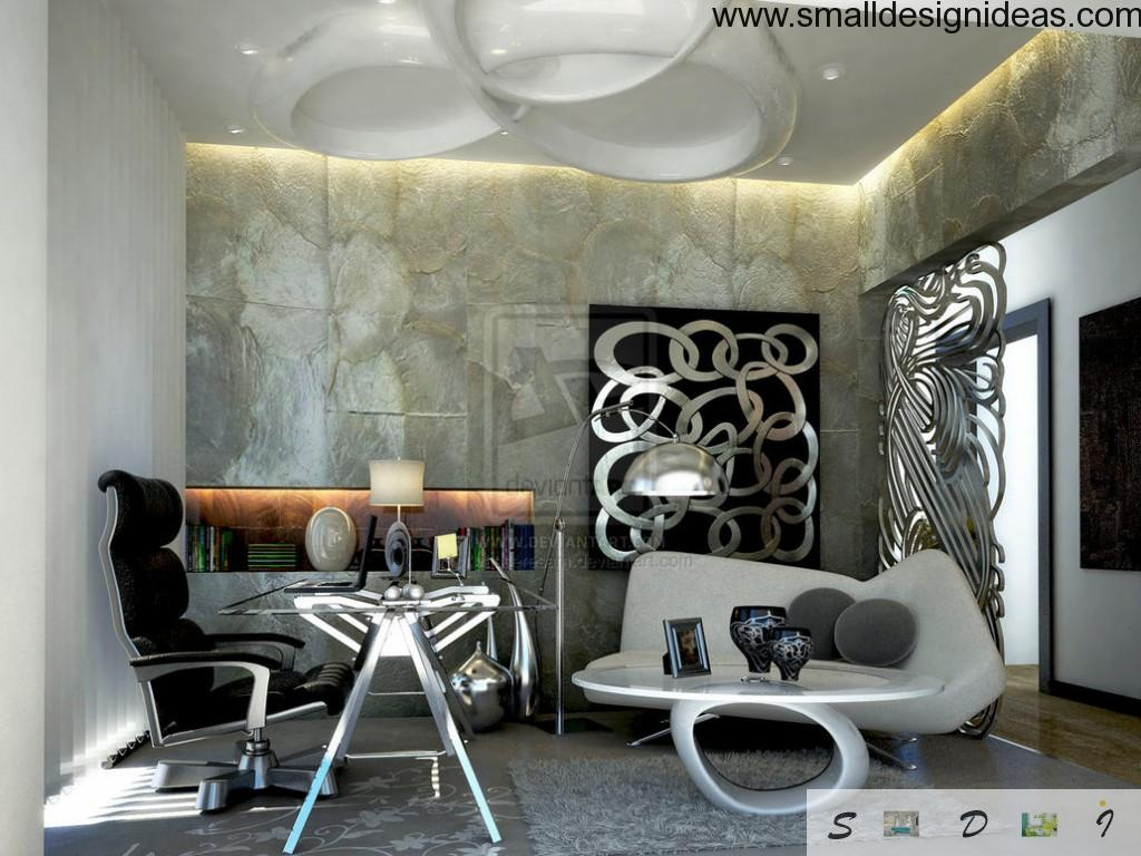 Futuristic modern home office with paintings on the walls