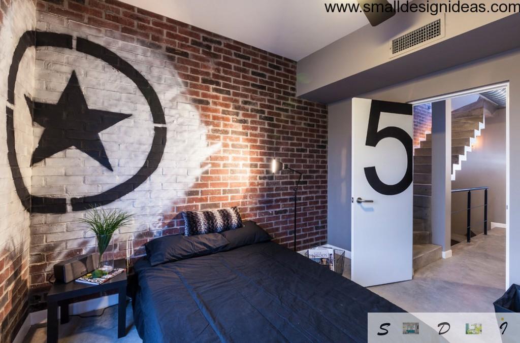 Brickwork in contrasting bedroom design