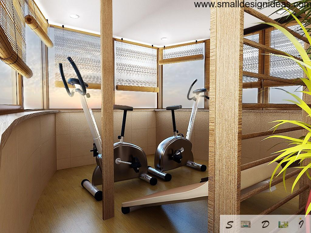 Loggias, Balconies, Terraces Interior Design arranged as gym