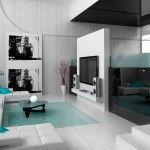 Living room in high-tech design style