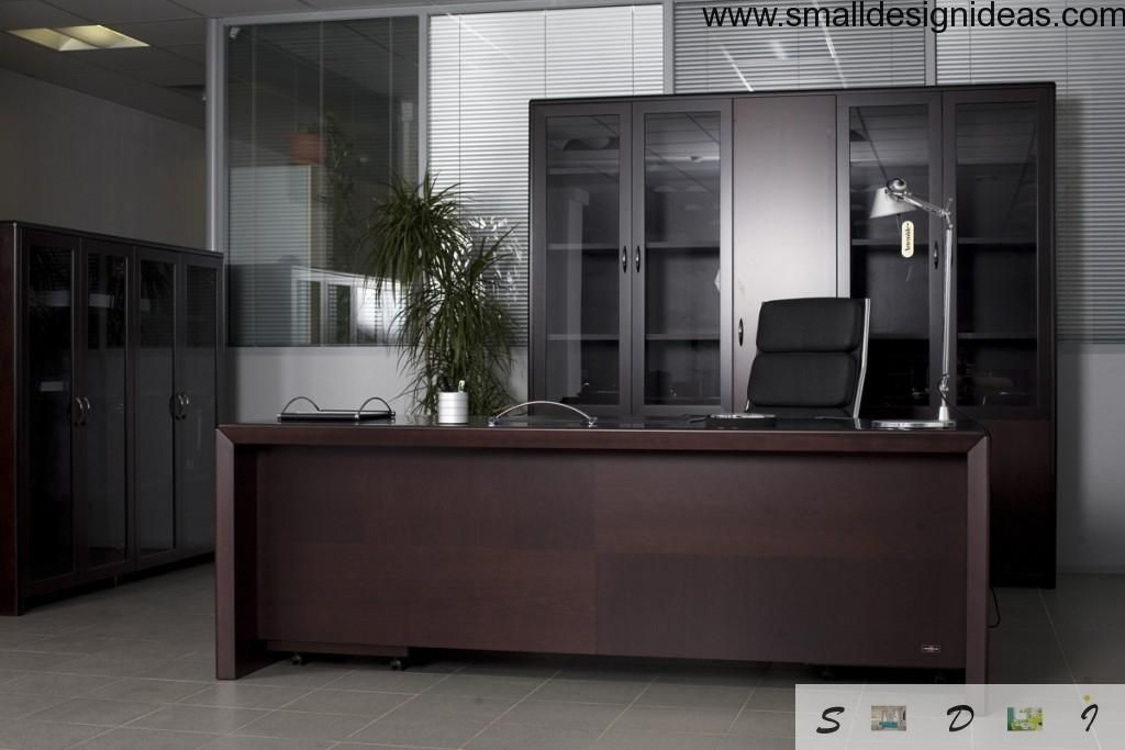 Furniture For Your Home Office. Nice armchair, wooden table glass closet
