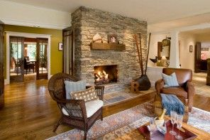 Cozy fireplace in the Rustic Interior Design Style of the house