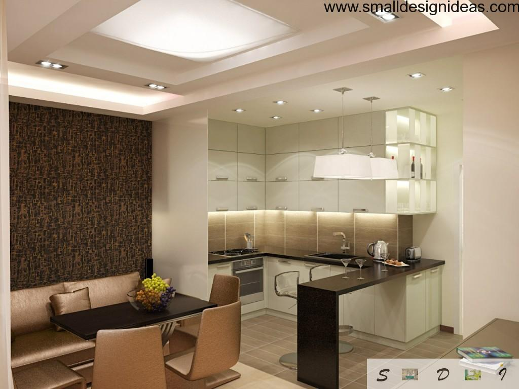 L-shaped kitchen with different areas flooring