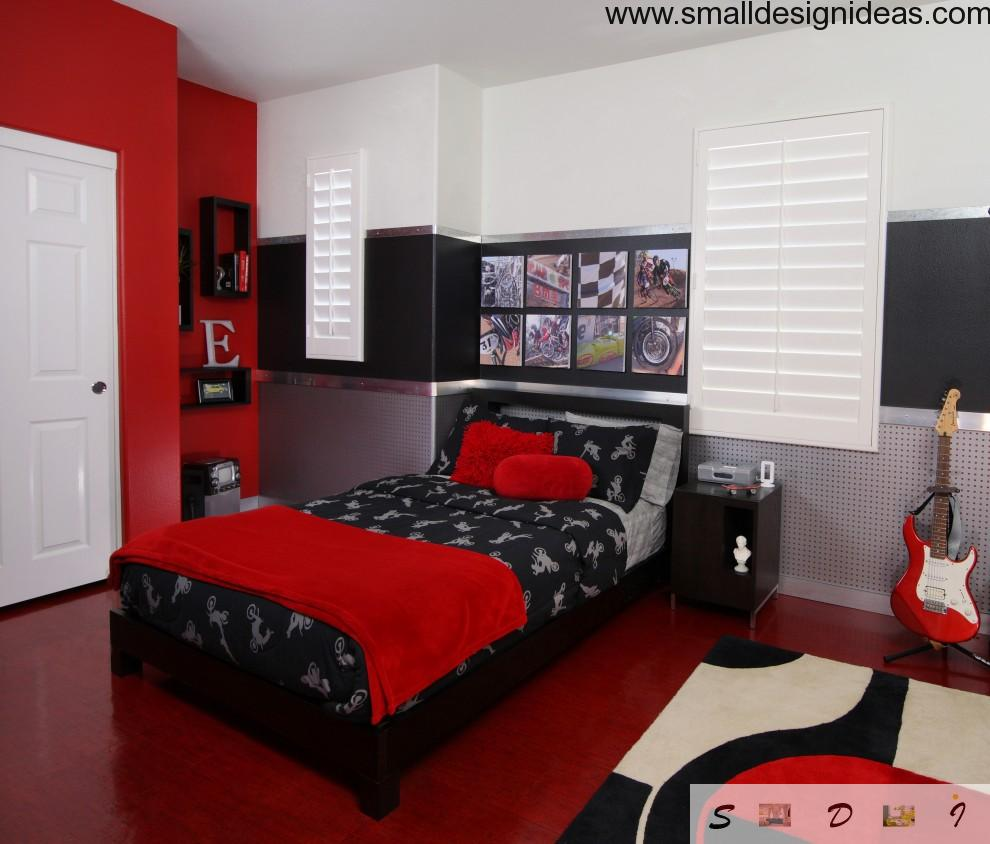 Red and white colors contrast in active bedroom design