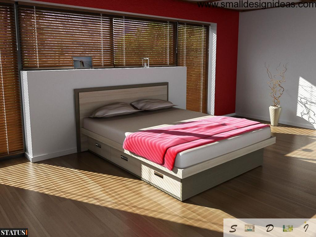 Bed with Drawers. Modern Design. Nice oriental style of decoration