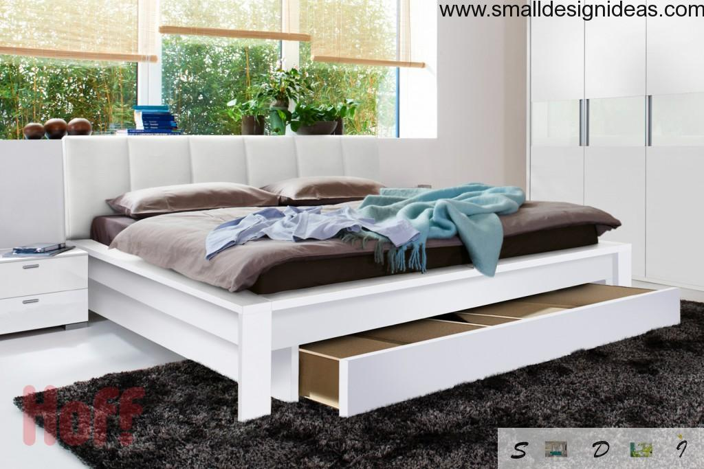 Nice convenient bed with drawers for bedroom