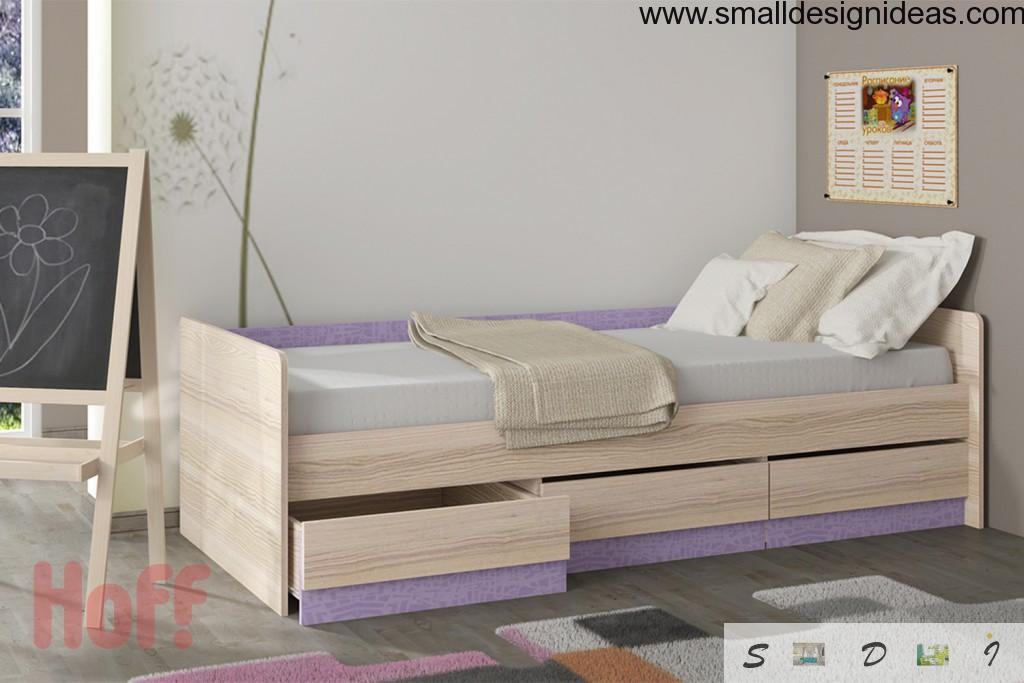 Tide and clean lined children bed with easy-to-pull drawers