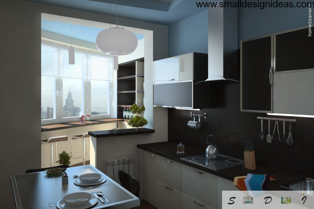 Loggia combined with modern kitchen with convenient parapet-tabletop