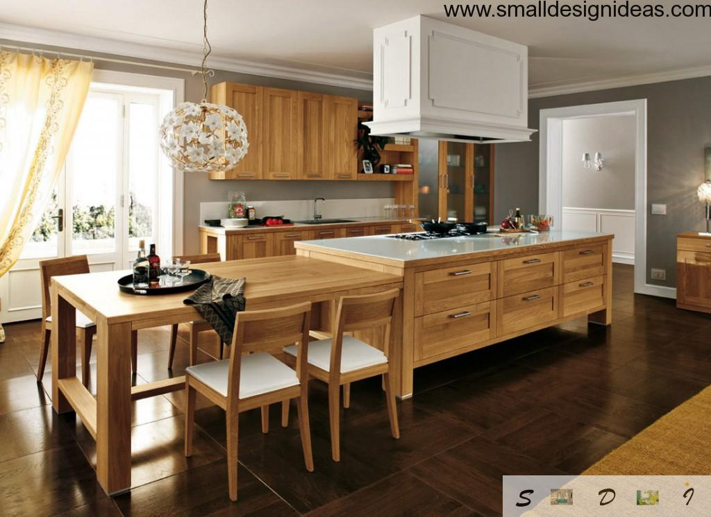 Wooden kitchen and white plastic elements of appliances in the kitchen