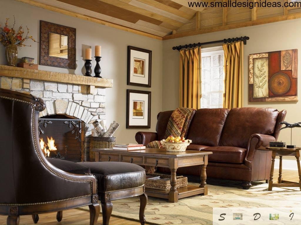 Classic english style interior hearth leather furniture with carved wooden basis coffee table