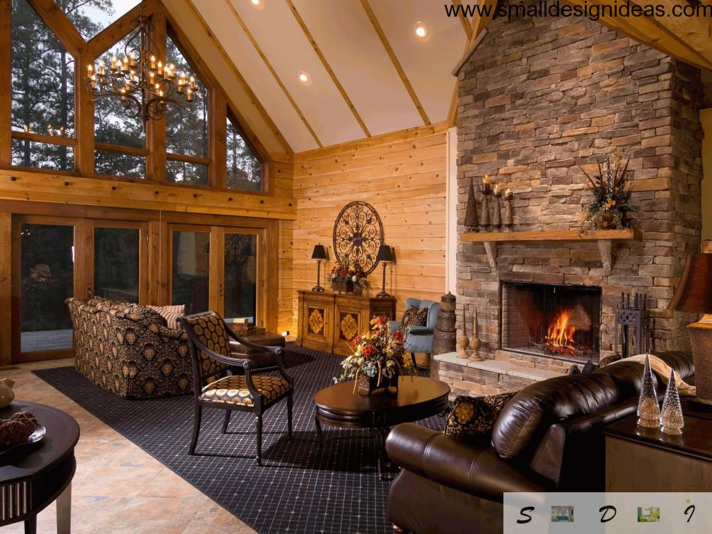 Perfect ideas for the two-leveled private house living room with