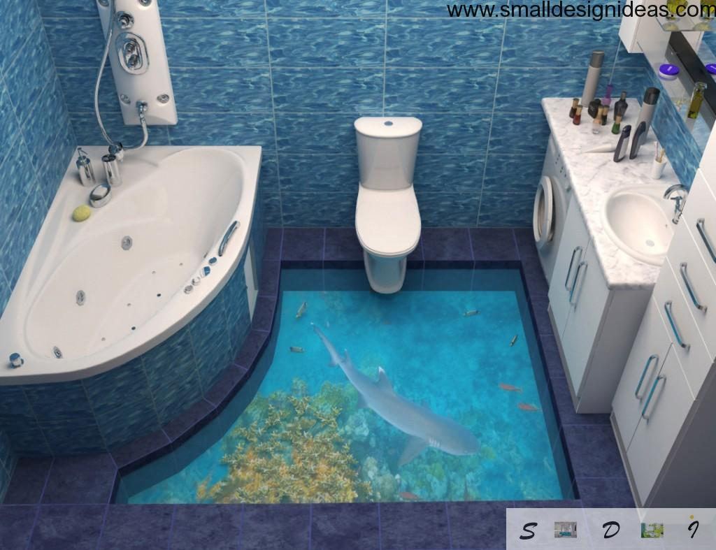 Unique bathroom design with glass floor