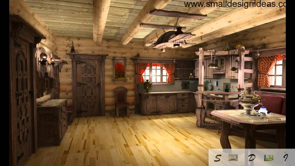 Nice natural Russian izba in Rustic Interior Design Style