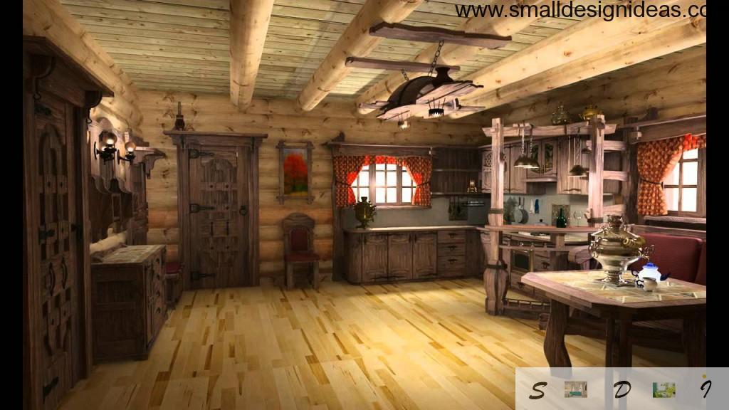 Nice natural Russian izba in Rustic Interior Design Style