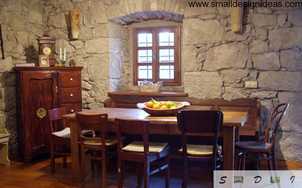 Rustic Interior Design Style in the stone house