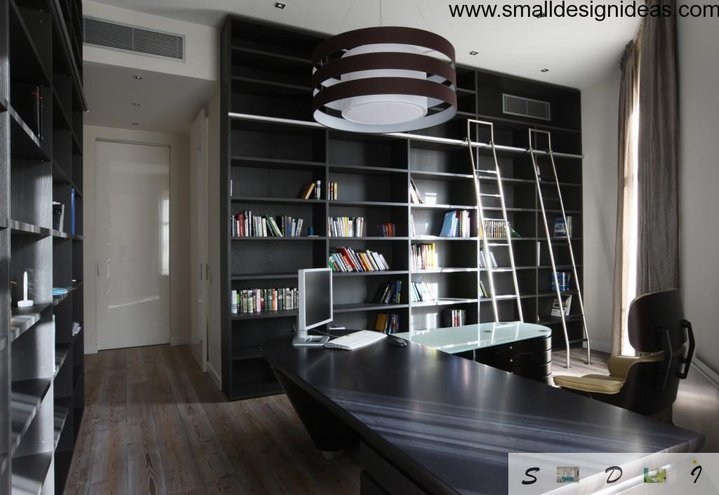 Modern home office in the Art Nouveau style and wooden furniture