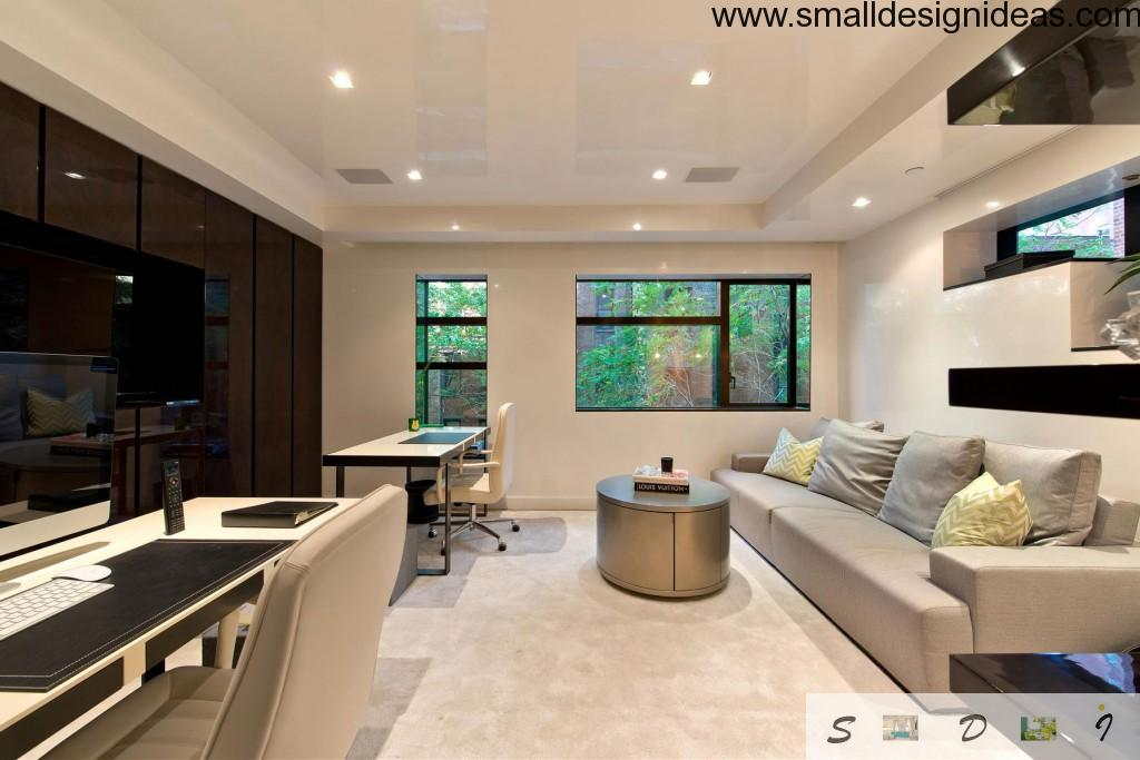 Unique study area design in the living room with natural outdoor scenery
