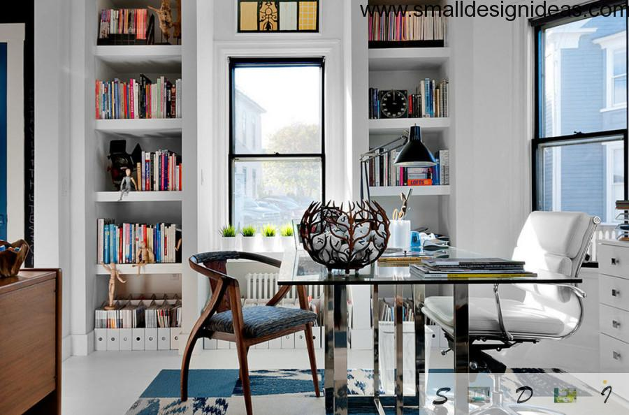 modern white study room with bizarre accessories, bookshelves and different style armchair