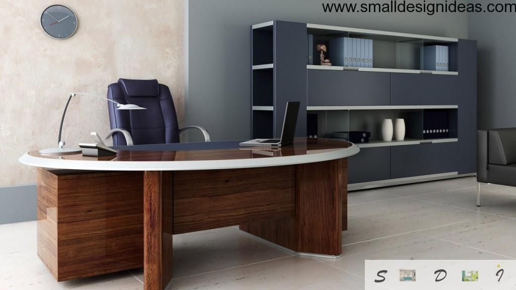 Furniture For Your Home Office. Nice armchair, wooden table and closet