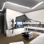 Living room in Futurism style sith figurines and the-art technologies