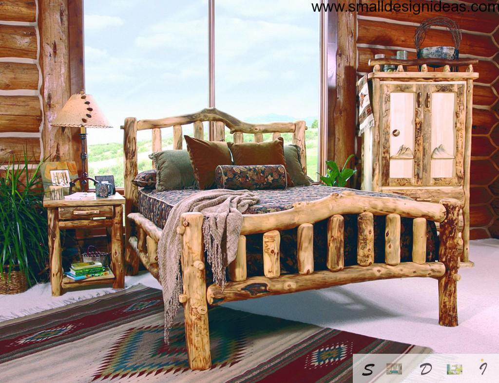 Bedroom with unique wooden self-made bed in rustic style