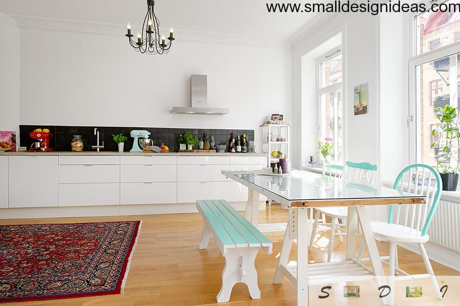 scandinavian style cozy apartment kitchen/dining-room