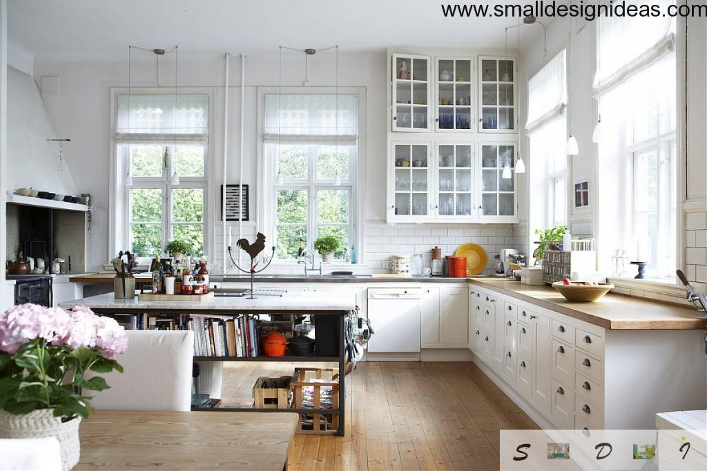 Large Kitchen area in the Scandinavian interior must be spacious and maximally functional without excesses