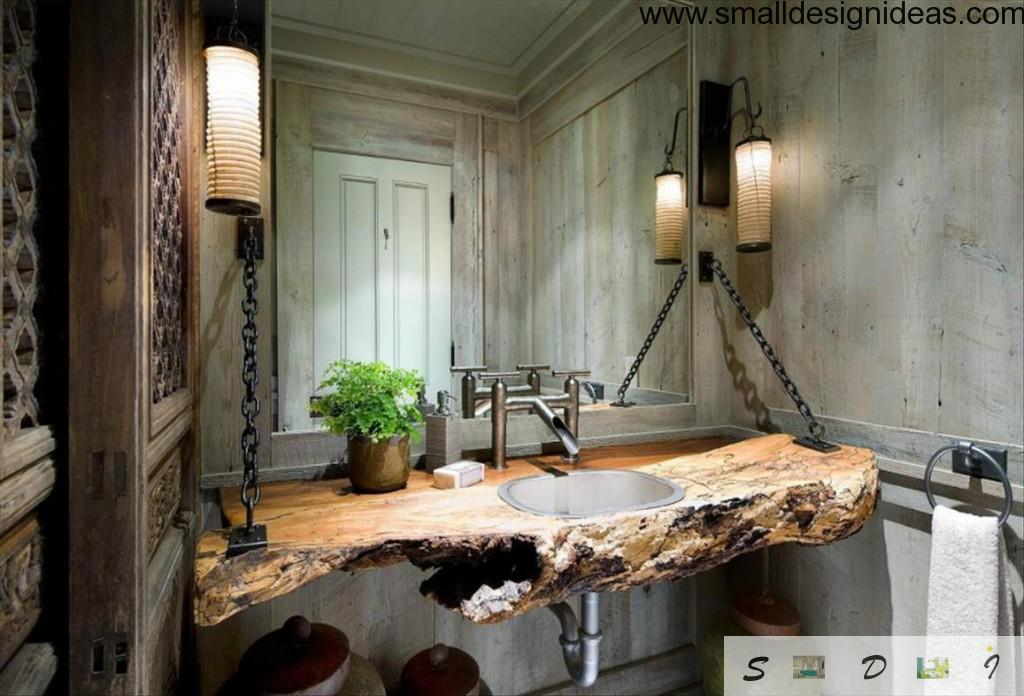 Unreal fully natural bath sink in harsh wooden countertop