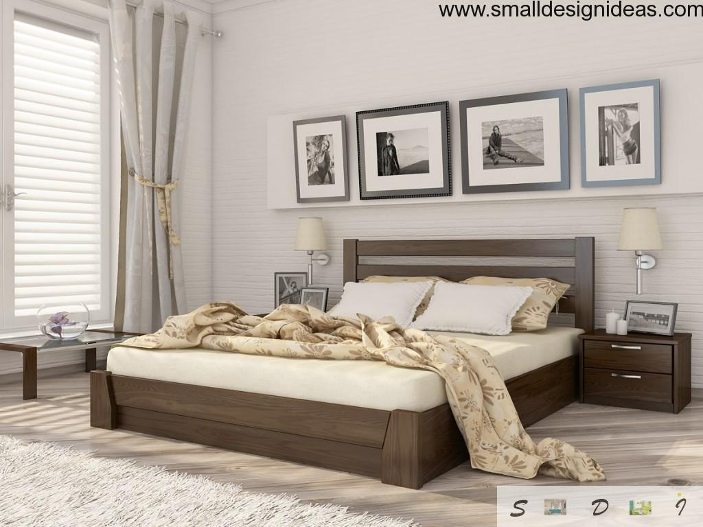 Modern design of beds with built-in drawers