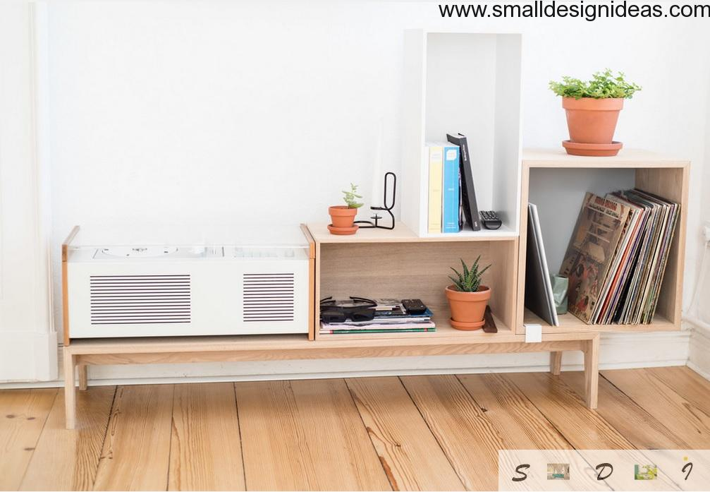 Shelves and interior decorations in the Scandinavian style