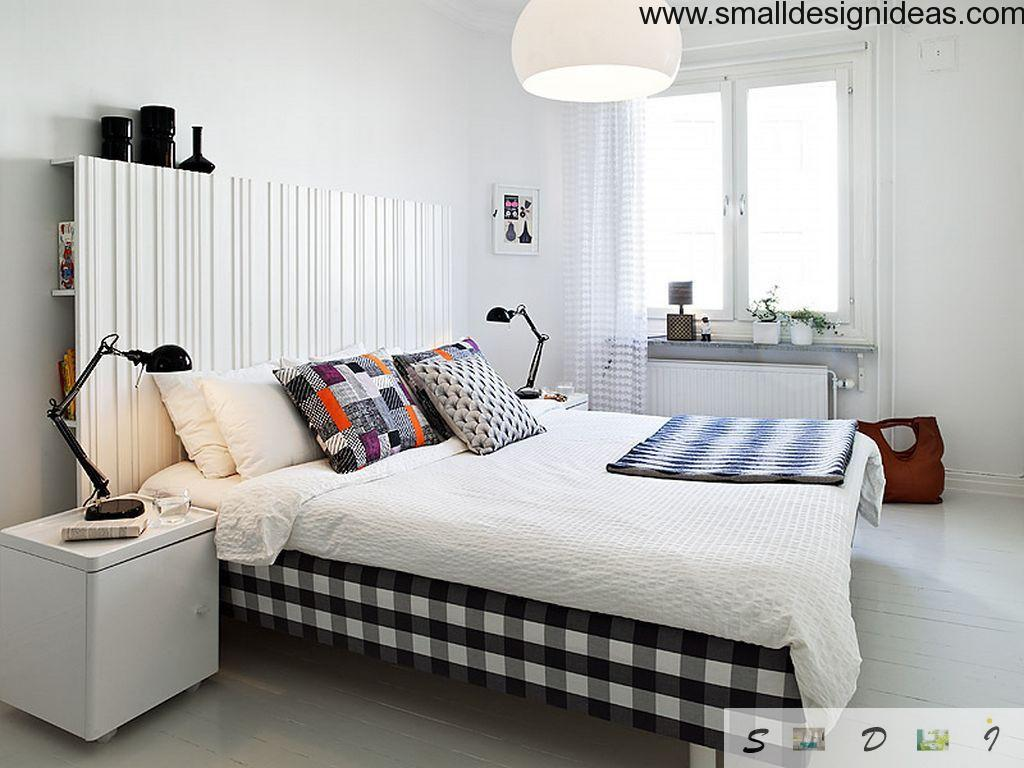 White bedroom style with active colorful elements
