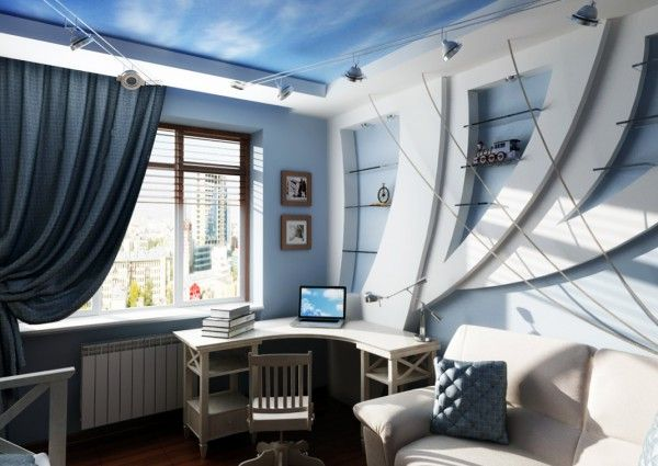 Marine Style Interior Design in the creative study room for adventurous kid