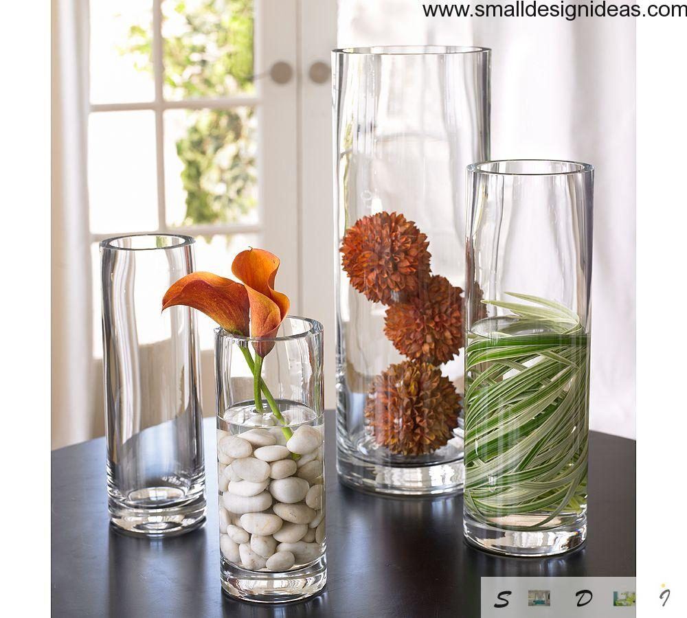 Glass as a reservoir for flowers in Scandinavian interior style