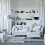 Aseptically White interior of the living room in Scandinavian style