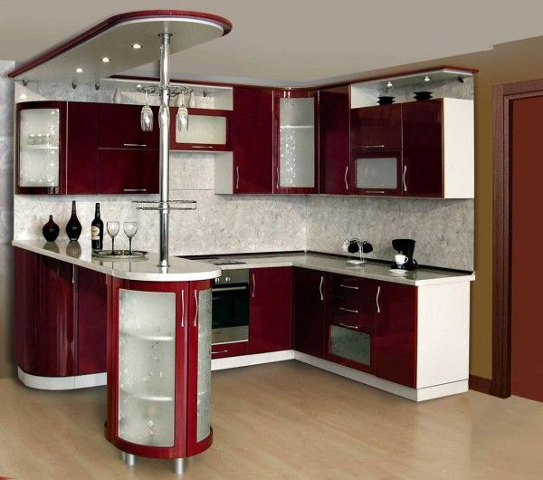 Nice tiny L-shaped Kitchen Design with bar counter