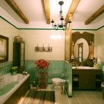 Nice turquoise style of retro in a bathroom