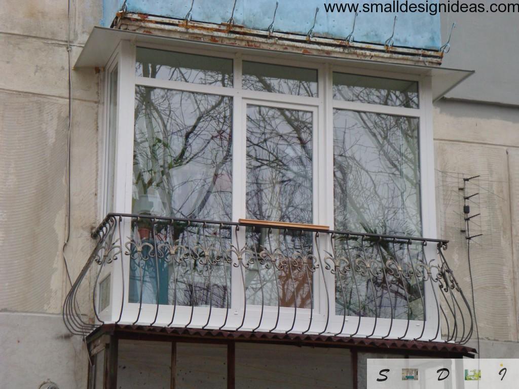 Glazed white French Balcony in modern block of flats