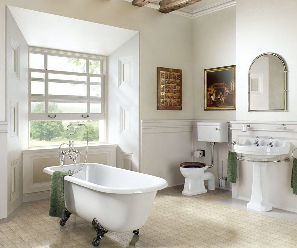 Victorian Bathroom of white tones in country house