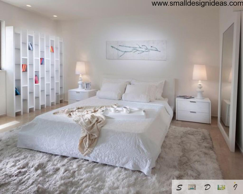 Unique bed in the bedroom with creamy distractive elements. a bedroom is so intimate and highly personal matter. bright design ideas of the light bedrooms.