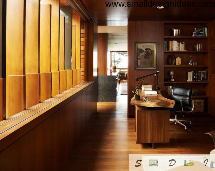 wooden furniture and zoning of the modern study room
