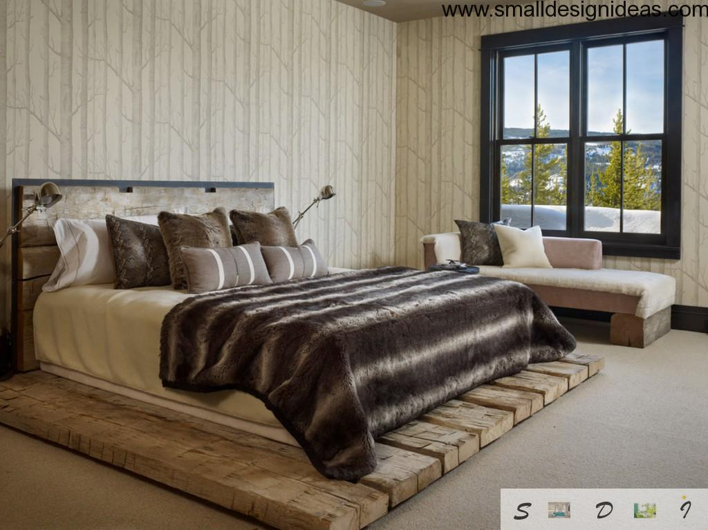 Nice country bedroom with wooden headboard and stand
