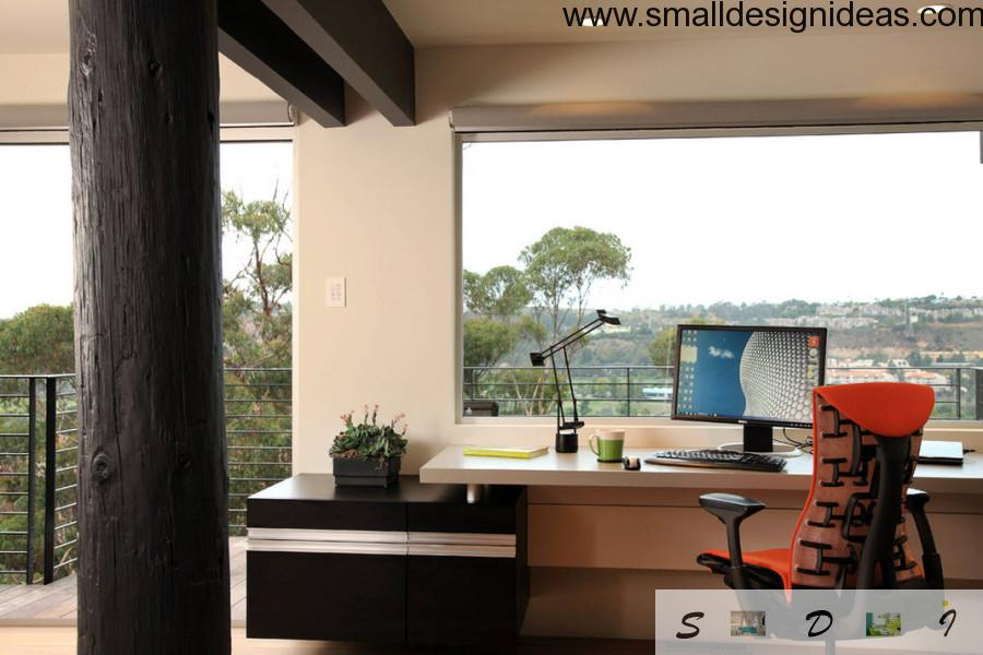 Expensive wooden materials for office finishing and furnishing