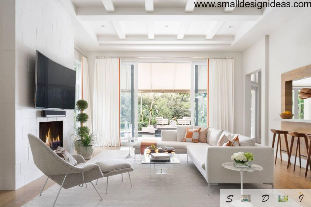 Small Design Ideas for Large Living Room with unusual structured ceiling