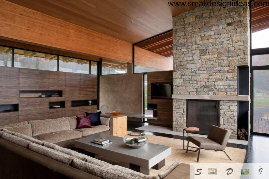 Stone masonry and wooden panels in country house living room