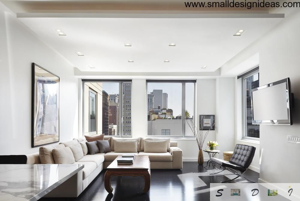 living room in spacious white room