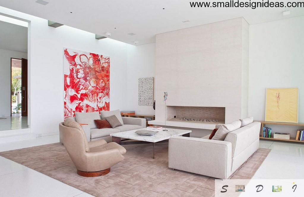 red notes in the decoration of large living room in white mainstream