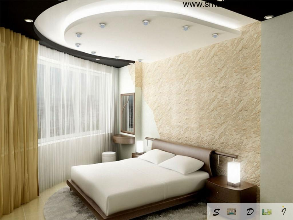 Small Design ideas for smal bedroom with unique ceiling and bed coloring