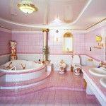 Rare pink design in the classic bathroom interior